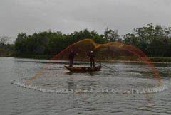 Throwing Nets on Bon River (janetfo747 ~ Pray for Peace) Tags: green net river temple fishing north gray restaurants overcast vietnam