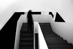 (cherco) Tags: blackandwhite woman blancoynegro up mystery stairs composition canon movement mujer alone time movimiento momento lonely moment escaleras subir misterio estela markiii