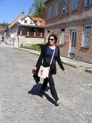 Kostajnica... Croatian side (seanfderry-studenna) Tags: street blue woman black public girl beautiful beauty face sunglasses shirt lady female dark hair outside happy photography girlfriend long married photos outdoor candid gorgeous croatia tourist stunning april wife trousers charming visitors visitor tee cardigan touring hrvatska fiancee concentrating serb 2016 kostajnica