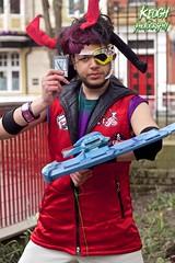 IMG_8846 (Neil Keogh Photography) Tags: blue red white black male hat silver soldier gun purple pants mask horns jacket card hero sword visor 2016 bodywarmer cosplaycosplayer nwcosplayeastermeet