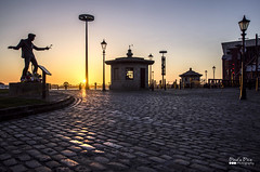 Halfway to Paradise (Paul's Picx) Tags: silhouette statue liverpool cobbles mersey albertdock wirral merseyside billyfury