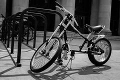 StPaulArtCrawl2016_46370-.jpg (Mully410 * Images) Tags: blackandwhite monochrome bike bicycle vintage chopper stpaul sidewalk pillars 2016 uniondepot artcrawl bikerake niksilverefexpro