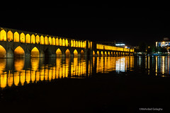 Si-o-seh Pol at night (mgolagha) Tags: travel bridge light reflection art beauty architecture night river nightshot iran historical oldtown esfahan isfahan reise travelphotography acient sigma30mm sonya6000