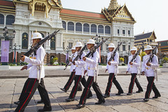 Changing of the Guard (tylerkingphotography) Tags: city travel white lens thailand photography nikon uniform southeastasia king photographer post outdoor bangkok group helmet guard royal kingdom rifles explore backpacking grandpalace thai soldiers guns kit 1855mm traveling guards amateur weapons guardian troop pith armedforces assembly riflemen armed thronehall chakrimahaprasat d3100 kingsroyalguard