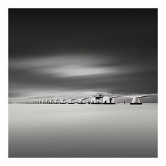 The Bridge II (Dimitri De Tavernier Photography) Tags: longexposure bridge sea blackandwhite seascape netherlands monochrome mono nikon zeeland filter le nd minimalism filters haida ndfilter zeelandbrug