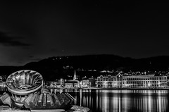 Drammen (Knut Arne Gjertsen) Tags: longexposure blackandwhite bw reflection blancoynegro monochrome norway night river mono drammen buskerud otherkeywords aassbrewery