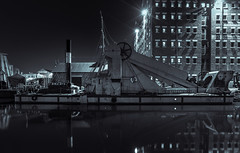 Gloucester Quay (technodean2000) Tags: road city uk england blackandwhite reflection building monochrome skyline architecture night boat canal nikon nightscape outdoor victoria quay warehouse gloucester complex lightroom d610 d5300