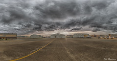 Storm Pano... (Ken Thomann Photography) Tags: sky panorama storm nature weather clouds canon mississippi landscape fun concrete photography unitedstates wind outdoor steel stripes pano hangar dramatic wideangle oldbuildings panoramic explore april lightning drama usaf hdr springtime darksky thunderstorms stormchasing reallyrightstuff deepsouth crazyweather aprilshowers t38talon columbusafb canon6d canon1635mmf28lii t6atexanii outinnature kenthomannphotography