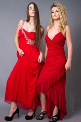 Amanda and Emily (austinspace) Tags: red portrait woman holiday hair studio model dress blond blonde brunette alienbees