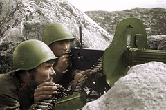 Gunners of the 63 brigade during the fighting against the German and Finnish troops on the Kola Peninsula, in North Karelia (Za Rodinu) Tags: world 2 man men history vintage soldier war gun russia military rifle rifles front german weapon ww2 soldiers historical guns 1942 1945 rare troops 1944 1943