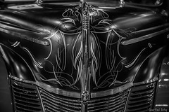 Striping rules! (JP Defay) Tags: auto blackandwhite black monochrome car noir noiretblanc stripes automotive oldschool coche oldtimer custom lowkey pinstripe pinstriping americancar striping fondnoir blackwhitephotos