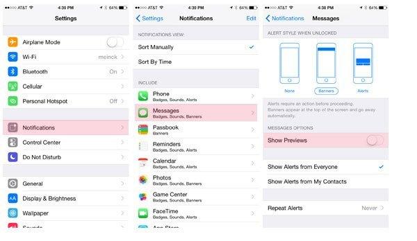 របៀបបិទមិនឲ្យបង្ហាញន័យសារលើ Lockscreen សម្រាប់ iOS និង Android!