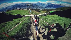 Downhill Jump (Marc3lly) Tags: italy sun mountain sports grass bike bicycle silver jump woods europe extreme downhill line dh mtb bikepark pila aostavalley gopro gressan hero4 goprohero4silver
