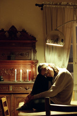 jackie (M. Thurman) Tags: portrait woman film beautiful beauty analog 35mm soft pretty candles fuji grain young indoor indoors 35mmfilm portraiture romantic softfocus fujifilm dreamy candlelight analogue grainy brunette hazy canonae1 delicate youngwoman candlelit softlight artificiallight shallowdof romanticism fujisuperia1600 filmphotography softcolor filmisnotdead fujicolorsuperia1600