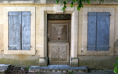 Blue shutters, Mane, Provence, France (Spencer Means) Tags: provence france south mane house window shutters blue facade façade wood carved carving alpesdehauteprovence dwwg provencealpescôtedazur