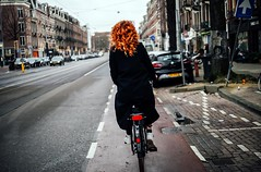 Fire Woman (Rolling Spoke) Tags: street amsterdam bike bicycle cycling view ride candid rear streetphotography style bicicleta depijp cycle bici chic redhair velo fiets ceintuurbaan firewoman bisiklet