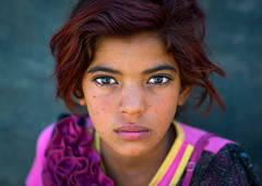 Iran, Central County, Kerman, gypsy girl with red hair (Eric Lafforgue) Tags: cute girl beautiful face childhood horizontal closeup kid eyes asia child iran character culture adorable headshot indoors only nomad contact henna gypsy gypsies kerman cultural oneperson middleeastern frontview nomadic lookingatcamera    iro onegirlonly  colourpicture  irandsc06894 khoshneshin