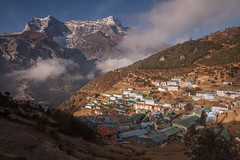 Namche Bazar is awaken (Indrik myneur) Tags: nepal houses np khumbu namchebazar namche shadowandsun easternregion