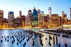 A view of Lower Manhattan from Brooklyn Bridge Park, New York City (mitzgami) Tags: nyc newyorkcity longexposure nightphotography newyork landscape manhattan wallstreet lowermanhattan brooklynbridgepark freedomtower nikonphotography onewtc lazyshutter