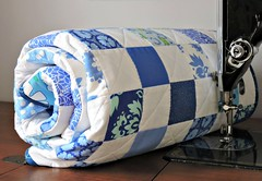 Blue Quilt (Cotton Cellar) Tags: blue baby modern quilt patchwork checkerboard