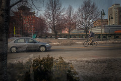 A s W e T r a v e l (Chris Robinson Photography) Tags: life city travel trees winter people snow cold reflection cars bicycle buildings outdoors streetlights citylife bikes windowshot rochesternewyork cityofrochester