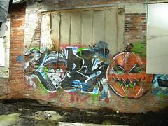 Lobs (chrisrandall7) Tags: street urban building art abandoned halloween island graffiti artist jackolantern exploring victory providence writer rhode technologies finishing gdc tagger lobs