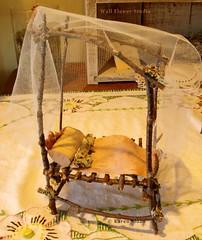 Fairy bed with canopy at Wall Flower Studio (Karen @ Wall Flower Studio) Tags: miniature moss bed handmade bark birch canopy twigs faerie weefolk fairyfurniture wallflowerstudio