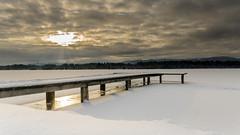 Cloudy winter morning (hjuengst) Tags: schnee winter lake snow reflection clouds sunrise bayern bavaria see jetty wolken sonnenaufgang steg winterbeauty reflektionen kirchsee klosterreutberg