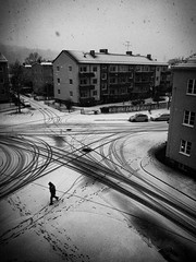 I vntan p vren (sonicinfusion) Tags: street winter bw snow man digital silver vinter sweden smland panasonic pro nik lonely sverige jnkping efex gf3