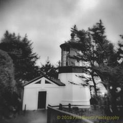 Cape Meares Lighthouse (Paul Swortz) Tags: blackandwhite lighthouse 120 film oregon holga kodak trix january 400iso capemeares 2016 swortz