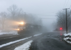 33K  in the Fog (Erie Limited) Tags: fog ns ge norfolksouthern csao c449w piscatawaynj lehighline