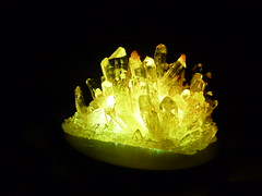 Citrine Crystals (grown) (tend2it) Tags: light orange white colors yellow crystal space clear age growing base catchy underlit citrine