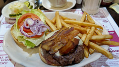 Bacon cheeseburger (Coyoty) Tags: red food brown white color green cheese tomato bread restaurant bacon potatoes bokeh connecticut beef burger ct diner sandwich meat pork lettuce cheeseburger fries hamburger roll pickles melt onion fried bun greasyspoon coleslaw rockyhill townlinediner