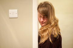 Day 11, Year 9. (evilibby) Tags: doorway tired blonde messyhair libby 365 lightswitch 365days 3659 365days9