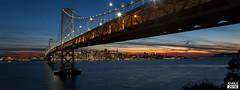 San Francisco under the Bay Bridge (lewisangle) Tags: sanfrancisco california city bridge light sunset panorama water night canon landscape island bay treasureisland pano panoramic baybridge yerbabuena 6d