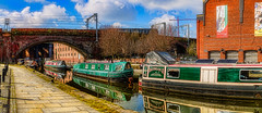 DayDream II (Kevin From Manchester) Tags: bridge england sky panorama reflection beautiful architecture manchester canal colours waterfront northwest outdoor colorfull widescreen panoramic lancashire serene 1855mm archways barge hdr scenics waterways bridgewatercanal canon1855mm castlefileds kevinwalker canon1100d