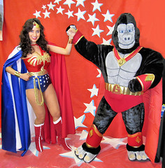 Silicon Valley Comic Con: Wonder Woman and Ultra-Gor! (critter superhero) Tags: sexy comics dc costume team amazon gorilla muscle goddess convention superhero ape speedo spandex superheroine