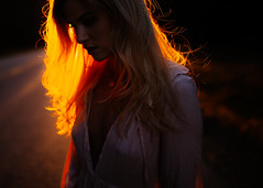 Allison (Mike Monaghan) Tags: road red summer portrait silhouette yellow backlight spring model mood bokeh blonde blondehair goldenhour rimlight mikemonaghan
