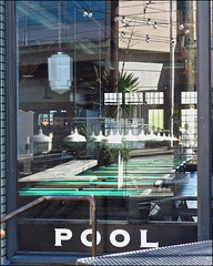 'With a Capitol T that rhymes with P that stands for POOL!' (WryMuffin, taking a bit of a break) Tags: reflection window pool garage billiards capitolhillseattle
