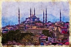 Ottoman Empire1 (AjayGoel2011) Tags: sunset turkey watercolor evening istanbul mosque dome pencilart photshopmanipulation