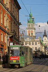 Tram in Old Town (tarmo888) Tags: vertical lviv ukraine medieval unesco lvov  lww lemberg  lwow leopolis ukrayina photoimage  sooc sonyalpha  pictureeffect sony geosetter  geotaggedphoto nex7 sel18200 foto hdrpainting year2016