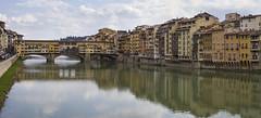 Ponte Vecchio Reflections Panorama (Rene Stannarius) Tags: italien reflections ponte arno brcke fluss spiegelung florenz vecchio toskana uferstrasse