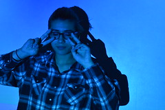 blue (laurenashphotos) Tags: blue cute art girl glasses cool model projector artsy aesthetic bluetones cooltones tumblr projectorphotography