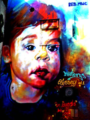 Reb MWC (Draopsnai) Tags: portrait streetart wall graffiti mural child camden rebmwc