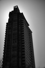 FujiWalkApr2016-6961 (labrossephotography) Tags: bw building tower monochrome backlight skyscraper halo