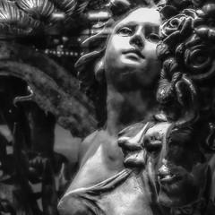 Around San Diego: Through the Window -73 (rmc sutton) Tags: blackandwhite bw sculpture bronze night nightimages sandiego tripod lajolla series sculptures throughthewindow bronzesculptures photoseries photographicseries