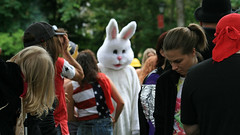 that white bunny.. (europeanasian) Tags: white bunny hippies community eugene volunteer whiteaker eugeneoregon communitycleanup