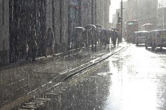 2016-04-07: Bright Road (psyxjaw) Tags: street people london wet water rain weather walking shower office workers bank soak commuter commuting rushhour damp cityoflondon londonist