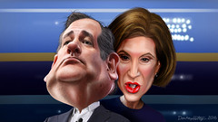 Ted Cruz and Carly Fiorina - Caricatures (DonkeyHotey) Tags: wisconsin illustration photomanipulation photo hp texas senator political politics manipulation ceo politician republican att gop hewlettpackard commentary joemccarthy lucent mccarthyism 2016 carlyfiorina politicalcommentary anticommunist donkeyhotey tedcruz josephraymondmccarthy armymccarthyhearings
