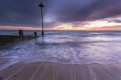 Sunset Beach (scott.hammond34) Tags: uk winter sunset sea sky seascape colour beach water clouds landscape coast movement sand outdoor vivid sunsetbeach bluehour groyne essex southend chalkwell canon6d